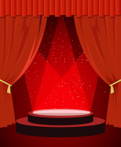 stage design template sparkling red decor round platform