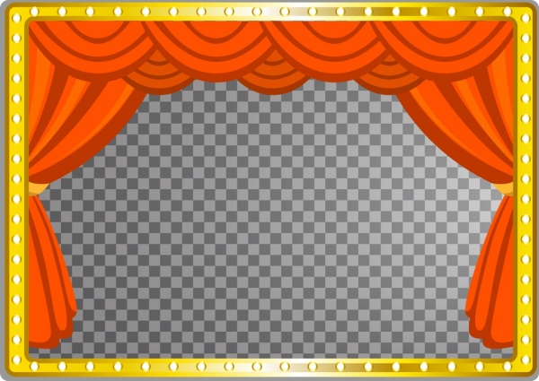 stage template red curtain neon frame flat design