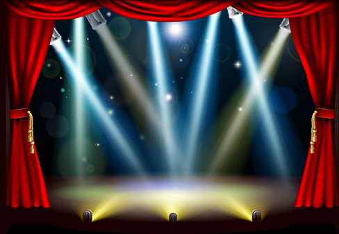 stage with spotlight effect design vector