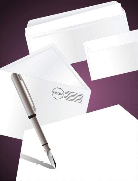 postal background envelope stamp pen sketch 3d modern