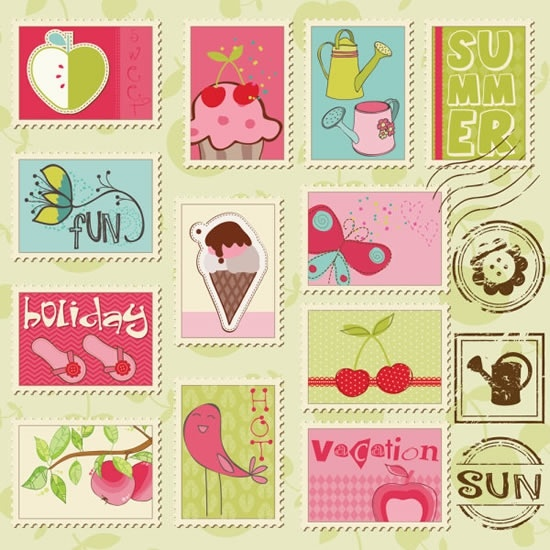 season stamps templates collection colorful flat classical handdrawn