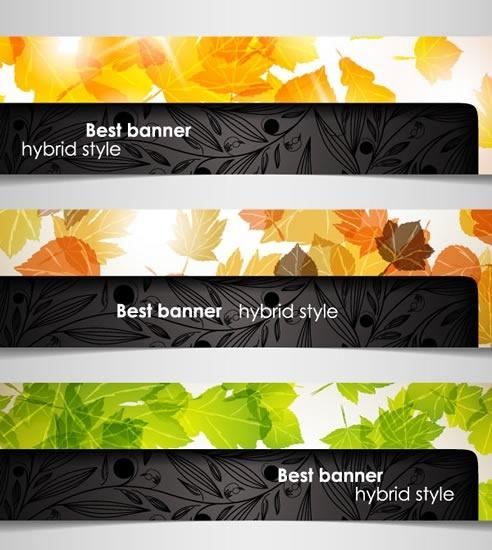decorative banner templates leaves decor modern twinkling horizontal