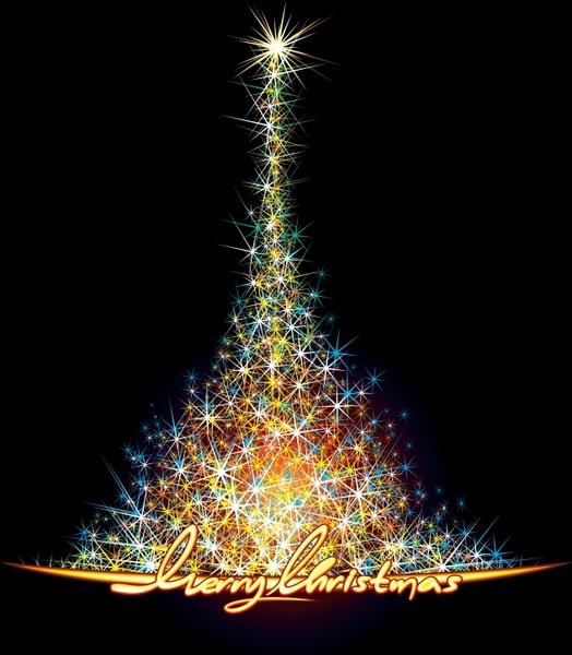 starry christmas tree vector - Starry Christmas