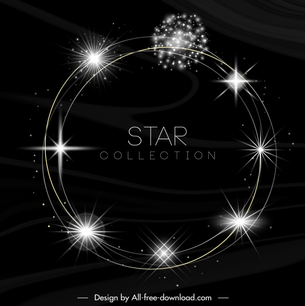 stars background template sparkling circle motion sketch