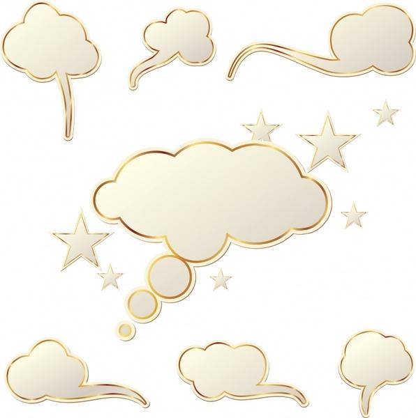 decorative sky elements clouds stars shapes modern flat