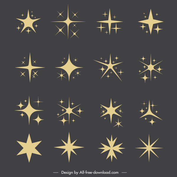 stars icons collection classic flat shapes sketch