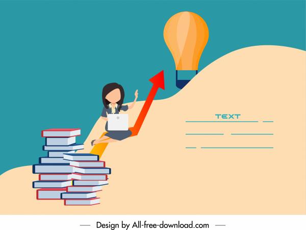 startup banner staff book stack lightbulb sketch