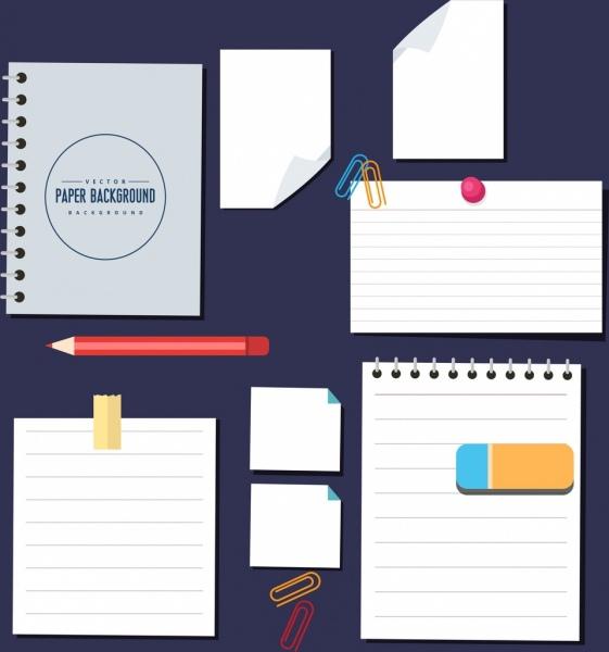 stationery design elements paper pencil eraser clip icons
