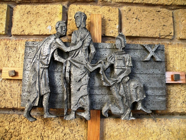 1st stations of the cross, jesus is condemned to death stock image.
