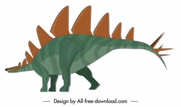 stegosaurus dinosaur icon colored cartoon character sketch