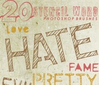 stencil word brushes