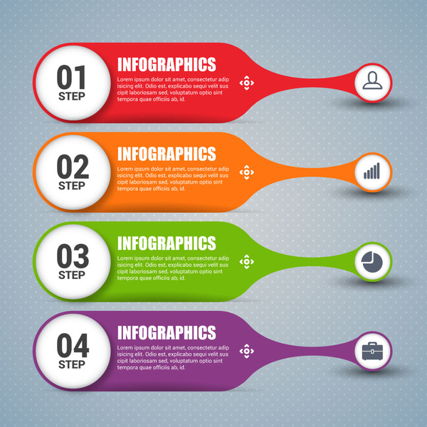 steps infographic design with colorful horizontal banner