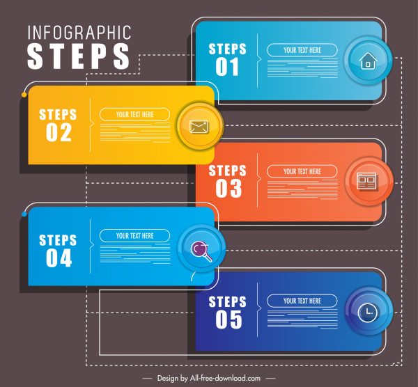 steps infographic template colorful modern horizontal tabs sketch
