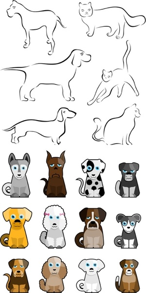 stick figure cartoon dog vector