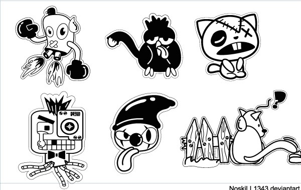 Sticker Art Character Icons Free Vector In Adobe Illustrator Ai