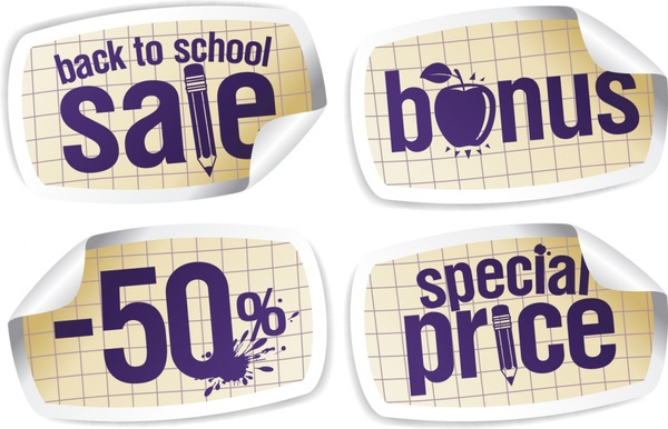education tool sale labels 3d curled up sketch