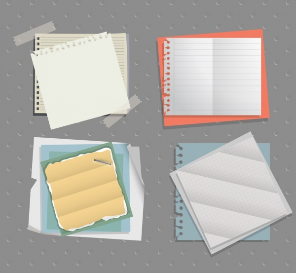 sticker papers icons collection white ragged sheets decor
