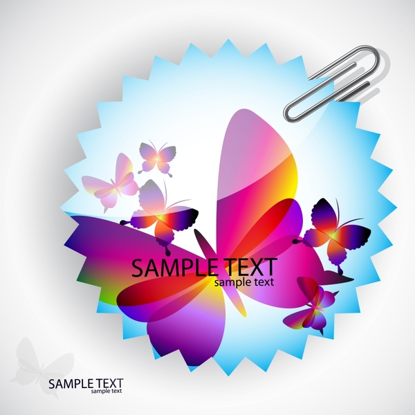 decorative clip sticker template modern colorful butterflies decor