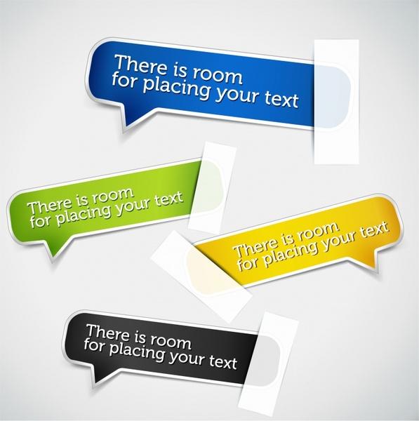 speech bubble sticky label templates colored modern design