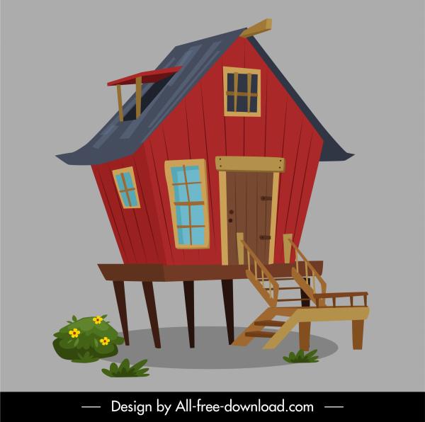 stilts house icon colored classical decor