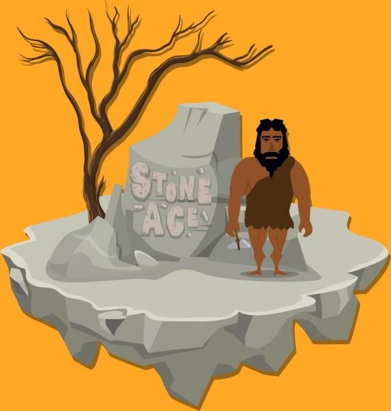 stone age background rock human icon cartoon design