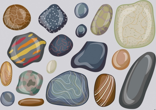 stone icons collection flat shiny colorful shapes