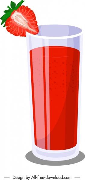 strawberry juice advertising background fruit glass icons