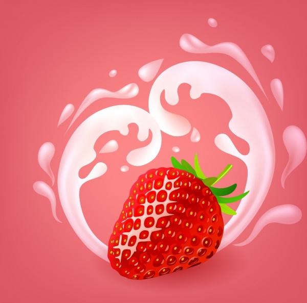 strawberry milk promotion banner splashing realistic ornament