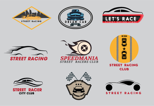 street racing clubs logo sets with various styles