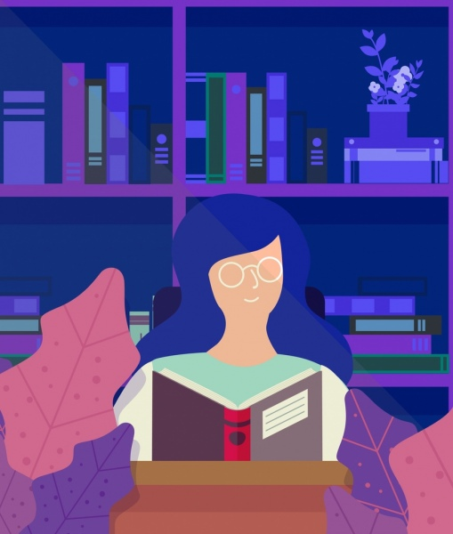 student background reading girl library icon cartoon sketch