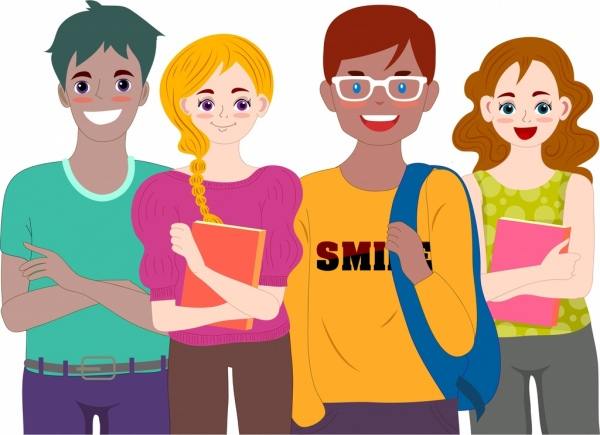 Students Icons Modern Colored Cartoon Characters Free Vector In Adobe Illustrator Ai Ai Format Encapsulated Postscript Eps Eps Format Format For Free Download 2 89mb