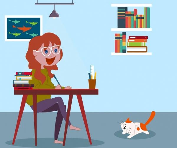 study background female student cat book icons decor