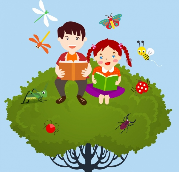 studying kids background colored cartoon design insects icons