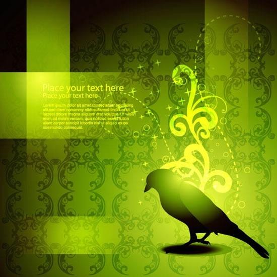 elegant card background classic bird silhouette decor