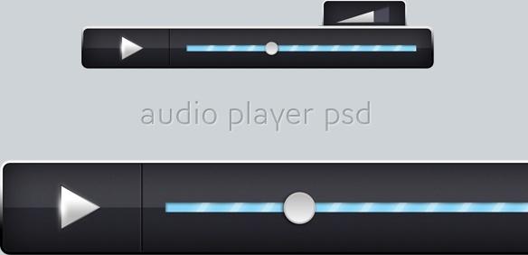 Stylish Black Audio Player PSD