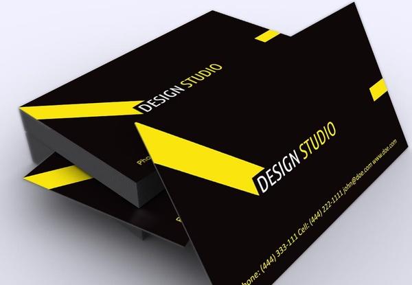 Stylish Black Yellow Free Corporate Business Card Template Free