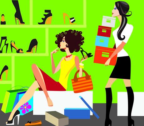 stylish glamour girls design elements vector
