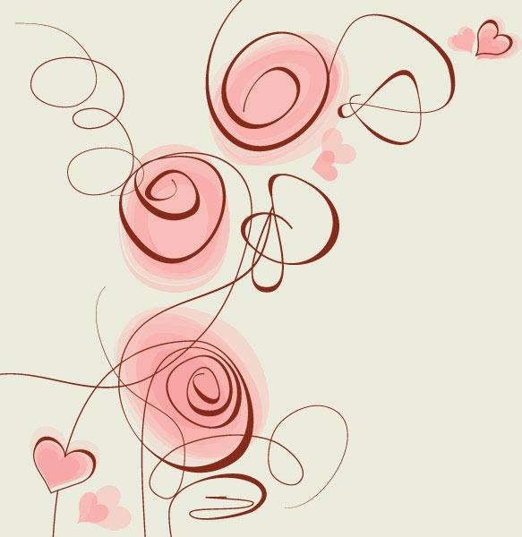 stylish handpainted flowers vector 5
