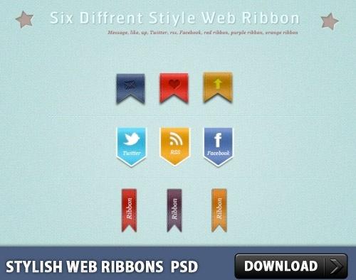 Stylish Web Ribbons Free PSD