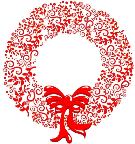 Christmas Wreath Silhouette Vector.Stylized Christmas Wreath Free Vector In Adobe Illustrator