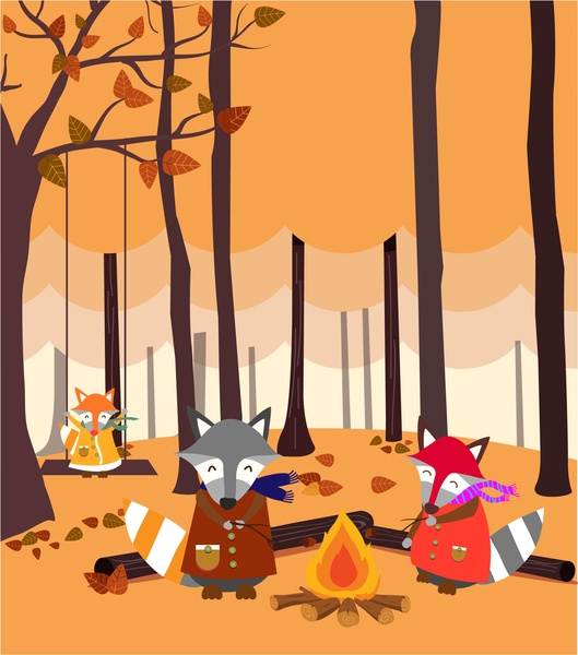 stylized fox family firing in leafless forest drawing