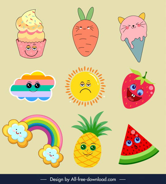 stylized icons cute colorful design emotional sketch