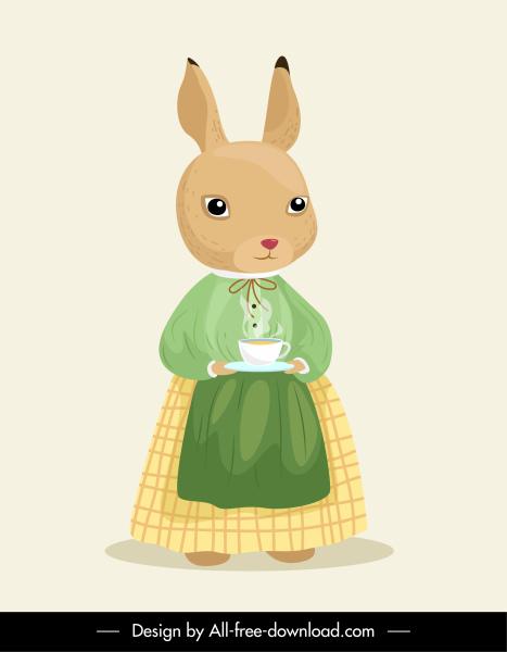 stylized rabbit icon maid sketch cartoon character