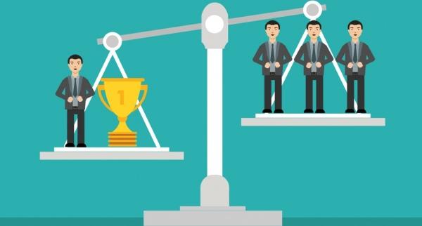 success concept design balance cup businessmen decoration