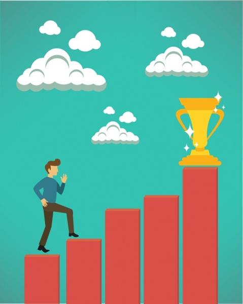success concept design man climbing trophy steps decoration