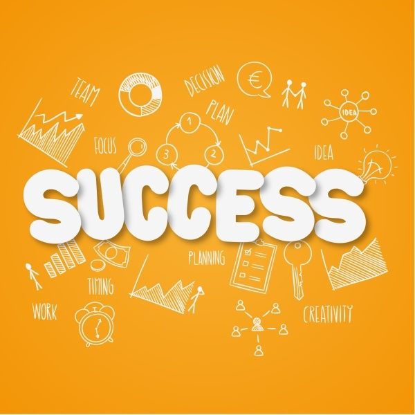 success sticker with hand drawn background vector