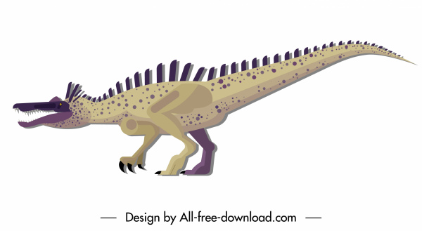 suchominus dinosaur icon colored cartoon character sketch