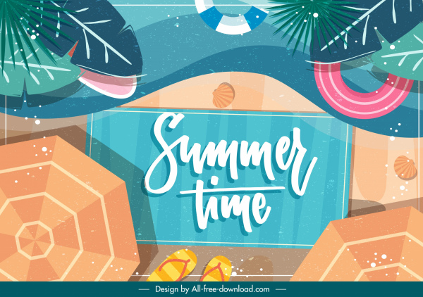 summer background beach elements decor colorful flat
