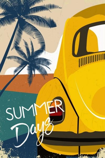 summer background car beach icons closeup retro design