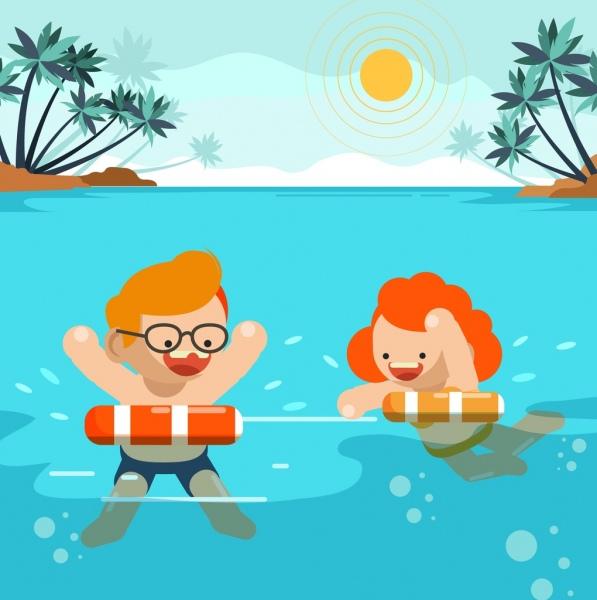 summer background joyful swimming children icon cartoon design